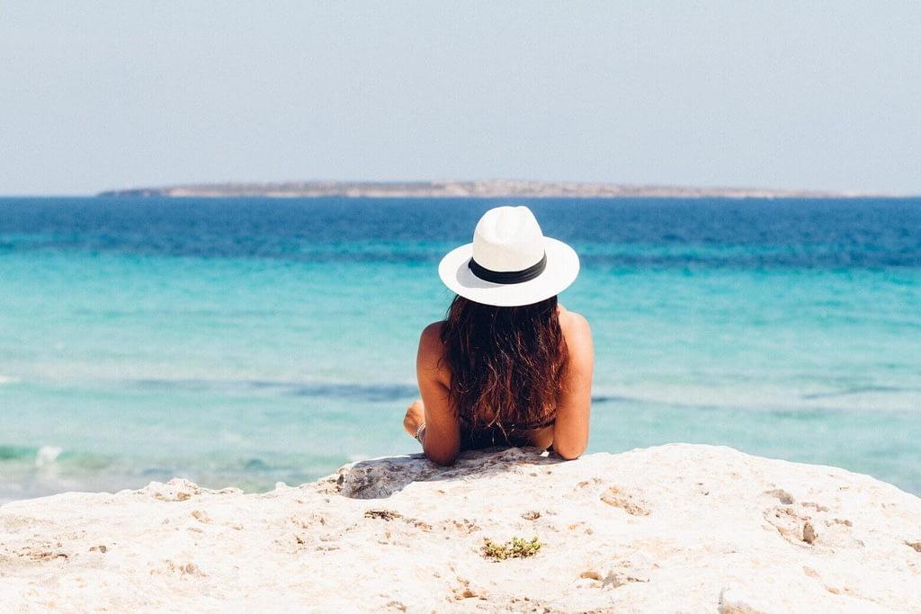 Woman Following Sun Safety Tips